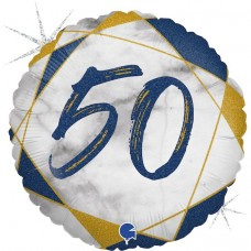 Шар (18''/46 см) Круг, 50, Цифра, Мрамор Калакатта, Синий, Голография, 1 шт.