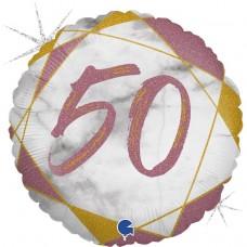 Шар (18''/46 см) Круг, 50, Цифра, Мрамор Калакатта, Розовое Золото, Голография, 1 шт.