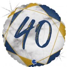 Шар (18''/46 см) Круг, 40, Цифра, Мрамор Калакатта, Синий, Голография, 1 шт.