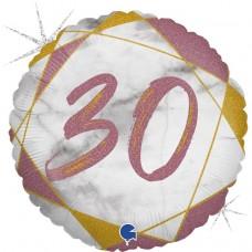 Шар (18''/46 см) Круг, 30 Цифра, Мрамор Калакатта, Розовое Золото, Голография, 1 шт.