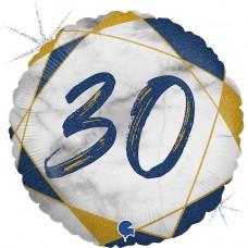 Шар (18''/46 см) Круг, 30 Цифра, Мрамор Калакатта, Синий, Голография, 1 шт.