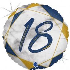 Шар (18''/46 см) Круг, 18 Цифра, Мрамор Калакатта, Синий, Голография, 1 шт.