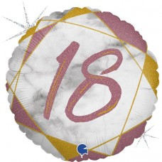 Шар (18''/46 см) Круг, 18 Цифра, Мрамор Калакатта, Розовое Золото, Голография, 1 шт.