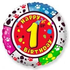 Шар (18''/46 см) Круг, 1 Цифра, Happy Birthday, 1 шт.