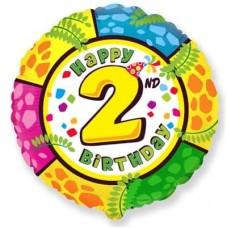 Шар (18''/46 см) Круг, 2 Цифра, Happy Birthday, 1 шт.