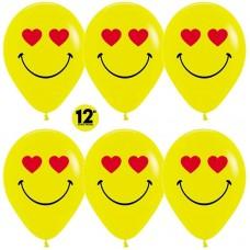 Шар (12''/30 см) Emoji, Смайл влюбленный, Желтый (020), пастель, 2 ст, 50 шт.