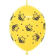 Линколун (12''/30 см) Пчелки, Желтый (020), пастель, 5 ст, 50 шт.