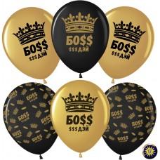 Шар (12''/30 см) Босс $$$ Дэй (корона), Золото (818)/Черный (299), металлик, 5 ст, 25 шт.