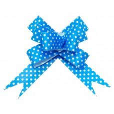 Бант Бабочка, Белые точки, Синий, 8 см, 10 шт.