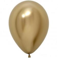 Шар (12''/30 см) Reflex, Зеркальный блеск, Золото (970), хром, 50 шт.