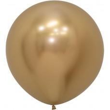 Шар (24''/61 см) Reflex, Зеркальный блеск, Золото (970), хром, 3 шт.