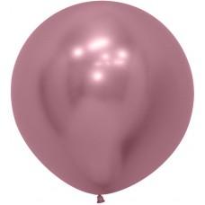 Шар (24''/61 см) Reflex, Зеркальный блеск, Розовый (909), хром, 3 шт.