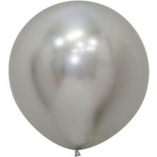 Шар (24''/61 см) Reflex, Зеркальный блеск, Серебро (981), хром, 3 шт.