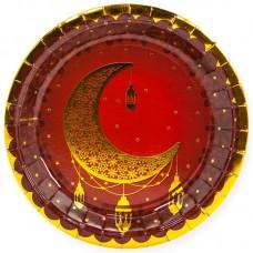 Тарелки (7''/18 см) Восточная сказка, Золото/Гранатовый, 6 шт.