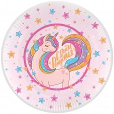 Тарелки (7''/18 см) Волшебный единорог, С Днем Рождения!, Розовый, 6 шт.