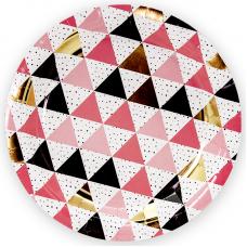 Тарелки (7''/18 см) Геометрия треугольников, Розовый, 6 шт.