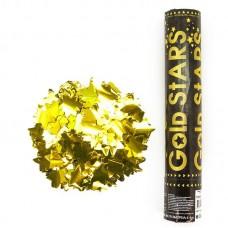 Пневмохлопушка (12/30 см), Металлизированные звезды, Золото, 1 шт.