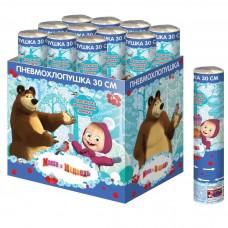Пневмохлопушка (12/30 см), Маша и Медведь, Фольгированные звезды + бумажные конфетти, 1 шт.