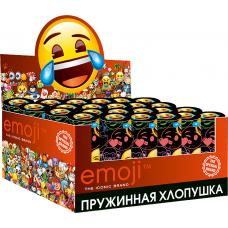 Хлопушка пружинная (4/10 см), Смайл, Emoji, Металлизированные круги, Черный, 24 шт.