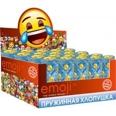 Хлопушка пружинная (4/10 см), Смайл, Emoji, Металлизированные круги, Синий, 24 шт.