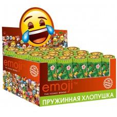 Хлопушка пружинная (4/10 см), Смайл, Emoji, Джунгли, Металлизированные круги, Зеленый, 24 шт.
