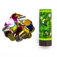 Хлопушка пружинная (4/10 см), Смайл, Emoji, Джунгли, Металлизированные круги, Зеленый, 1 шт.