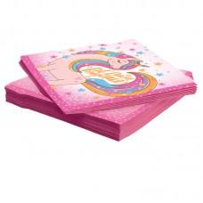 Салфетки, Волшебный единорог, С Днем Рождения!, Розовый, 33*33 см, 20 шт.