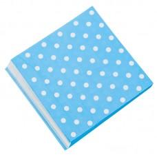 Салфетки Белые точки, Голубой, 32*32см, 20 шт.