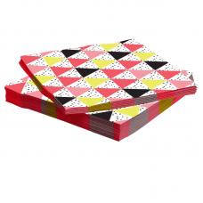 Салфетки, Геометрия треугольников, Розовый, 33*33 см, 20 шт.