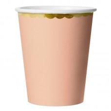 Стаканы (180 мл) Золотая кайма, Розовый, 6 шт.