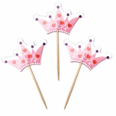 Пики-топперы для канапе Корона для принцессы, Розовый, 6*12 см, 12 шт.