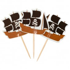 Пики для канапе Пиратский корабль, Черный, 4*12 см, 20 шт.