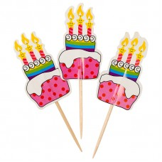 Пики-топперы для канапе, Тортики, Розовый, 4*12 см, 12 шт.