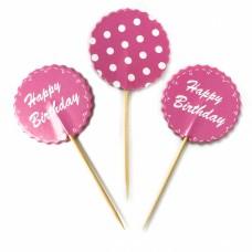 Пики для канапе С Днем Рождения, Точки, Розовый, 12 шт.
