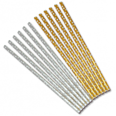 Трубочки для коктейлей Белые точки, Золото/Серебро, 12 шт
