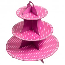 Стойка для десертов, Белые точки, Розовый, 1 шт.