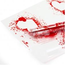 Упаковочная пленка (0,7*7,5 м) Джульетта (воздушные сердца), Красный, 1 шт.