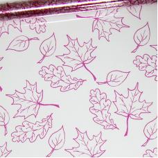 Упаковочная пленка (0,7*7,5 м) Листья, Розовый, 1 шт.