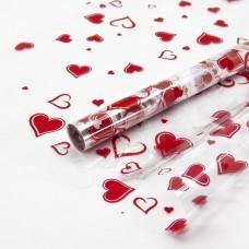 Упаковочная пленка (0,7*7,5 м) Множество сердец, Красный/Белый, 1 шт.