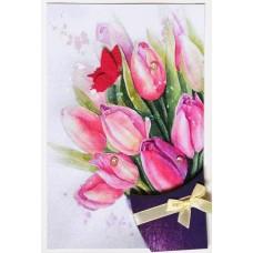 Открытка 3D, Букет тюльпанов, 1 шт.
