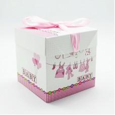 Коробка складная С Рождением Малышки!, Розовый, 15*15*15 см, 1 шт.