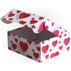 Коробка складная Множество сердец, Красный, 14*14*6 см, 5 шт.
