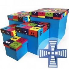 Набор коробок WOW - Сюрприз, Яркие смайлы, Синий, 21*21*21 см, 5 шт.