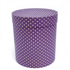 Коробка подарочная Цилиндр, Бежевые точки, Фиолетовый, 21*21*23 см, 1 шт.