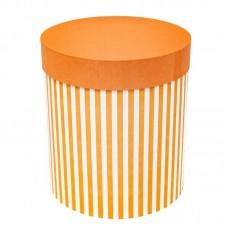 Коробка подарочная Цилиндр, Белые полоски, Оранжевый, 21*21*23 см, 1 шт.