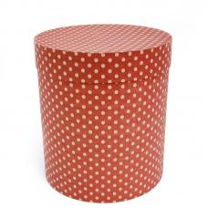 Коробка подарочная Цилиндр, Бежевые точки, Красный, 21*21*23 см, 1 шт.