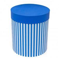 Коробка подарочная Цилиндр, Белые полоски, Голубой, 21*21*23 см, 1 шт.
