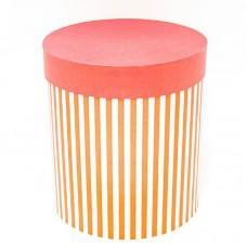 Коробка подарочная Цилиндр, Белые полоски, Красный, 21*21*23 см, 1 шт.