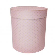 Коробка подарочная Цилиндр, Коричневые точки, Светло-розовый, 21*21*23 см, 1 шт.