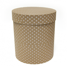 Коробка подарочная Цилиндр, Белые точки, Крафт, 21*21*23 см, 1 шт.